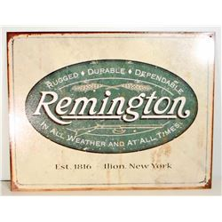 REMINGTON FIREARMS METAL ADVERTISING SIGN - 12.5X16
