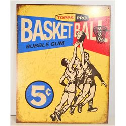 TOPPS BASKETBALL METAL ADVERTISING SIGN - 12.5X16