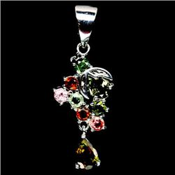 WHITE GOLD OVER STERLING SILVER FANCY COLOR TOURMALINE PENDANT