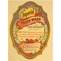 EARLY JB LYNAS IMPERIAL TOOTH WASH ADVERTISING LABEL