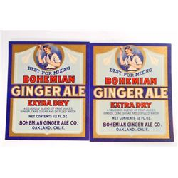 LOT OF 2 VINTAGE BOHEMIAN GINGER ALE LABELS