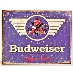 BUDWEISER BEER METAL ADVERTISING SIGN - 12.5X16