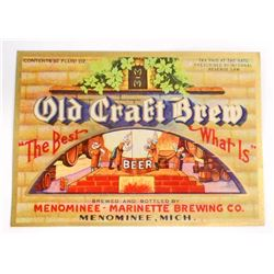 LARGE VINTAGE OLD CRAFT BREW IRTP BEER BOTTLE LABEL