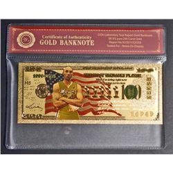 99.9% 24KT GOLD KOBE BRYANT $100 GOLD BANKNOTE W/ COA