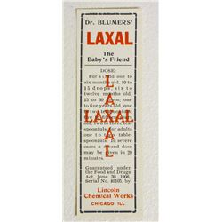 VINTAGE DR BLUMERS LAXAL REMEDY ADVERTISING LABEL