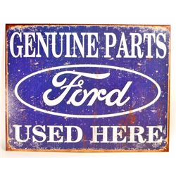 FORD GENUINE PARTS METAL ADVERTISING SIGN - 12.5X16