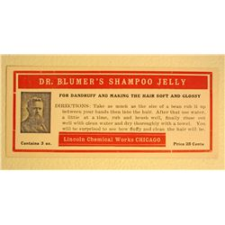 VINTAGE DR BLUMERS SHAMPOO JELLY ADVERTISING LABEL