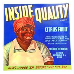 VINTAGE BLACK AMERICANA INSIDE QUALITY CITRUS LABEL W/ MAMMY