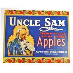VINTAGE BLUE UNCLE SAM APPLE CRATE ADVERTISING LABEL