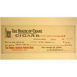 ANTIQUE 1917 HOUSE OF CRANE CIGARS CHECK