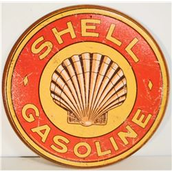 """SHELL GASOLINE METAL ADVERTISING SIGN - 12"""""""