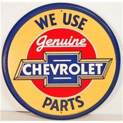 "GENUINE CHEVROLET PARTS METAL ADVERTISING SIGN - 12"""