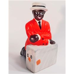 """BLACK AMERICANA BOY WITH SUITCASE BANK - 6"""" TALL"""