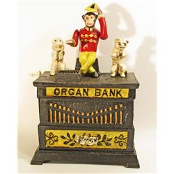 CAST IRON ORGAN GRINDER MONKEY MECHANICAL BANK