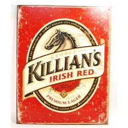 KILLIANS IRISH RED METAL ADVERTISING SIGN - 12.5X16