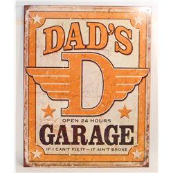 DADS GARAGE METAL ADVERTISING SIGN - 12.5X16