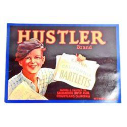 VINTAGE HUSTLER BARTLETT PEAR CRATE ADVERTISING LABEL