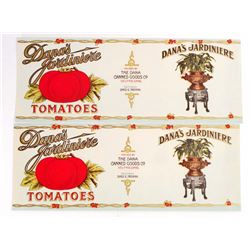 LOT OF 2 VINTAGE DANAS JARDINIERE TOMATOES CAN LABELS
