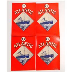 LOT OF 4 VINTAGE BROOM LABELS PICTURING THE SS ATLANTIC