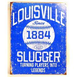 LOUISVILLE SLUGGER 1884 METAL ADVERTISING SIGN - 12.5X16