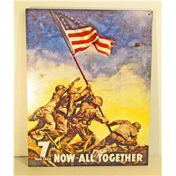 7TH WAR LOAN METAL ADVERTISING SIGN - 12.5X16