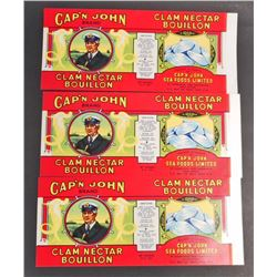 LOT OF 3 VINTAGE CAPN JOHN CLAM NECTAR BOULLION CAN LABELS