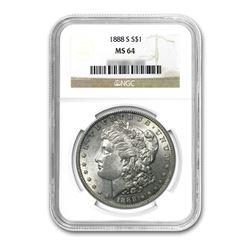 1888-S $1 Morgan Silver Dollar - NGC MS64