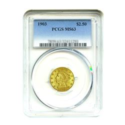 1903 $2.50 Liberty GOLD Quarter Eagle PCGS MS63
