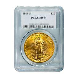 1914-S $20 Saint Gaudens PCGS MS64