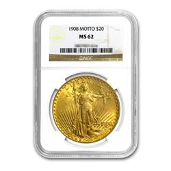 1908 $20 Saint Gaudens WM NGC MS62