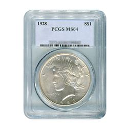 1928 $1 Peace Silver Dollar - PCGS MS64