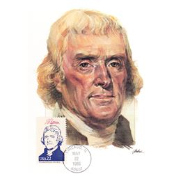 Thomas Jefferson The Presidents of the United States The First Day of Issue Maximum Cards by Fleetwo