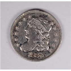 1834 HALF-DIME, AU, a few minor rim nicks