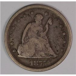 1875-S TWENTY CENT PIECE, VG/FINE