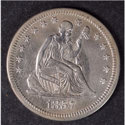 1857 SEATED QUARTER CH AU NICE ORIGINAL