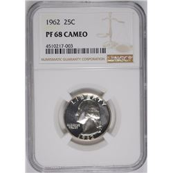 1962 WASHINGTON QUARTER, NGC PF-68 CAMEO