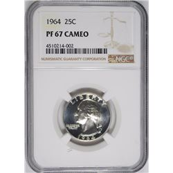 1964 WASHINGTON QUARTER, NGC PF-67 CAMEO