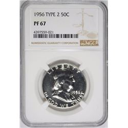 1956 TYPE 2 FRANKLIN HALF DOLLAR NGC PF 67