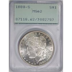 "1880-S MORGAN SILVER DOLLAR, PCGS MS-62  ""RATTLER"" HOLDER"