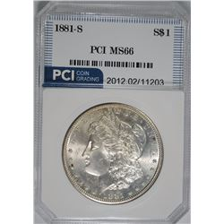 1881-S MORGAN SILVER DOLLAR PCI SUPERB GEM BU