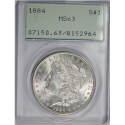 "1884 MORGAN SILVER DOLLAR, PCGS MS-63 ""RATTLER"" HOLDER"