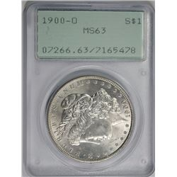 "1900-O MORGAN SILVER DOLLAR, PCGS MS-63 ""RATTLER"" HOLDER"
