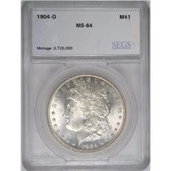 1904-O MORGAN SILVER DOLLAR, SEGS GRADED CH/GEM BU