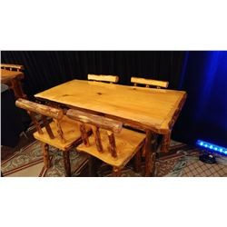SOLID FIR HAND CARBED DINING TABLE WITH 4 CHAIRS