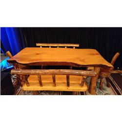 SOLID FIR HAND CARVED DINING TABLE WITH 2 BENCHES AND 2 END STOOLS