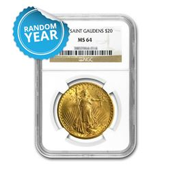 $20 Saint-Gaudens Gold Double Eagle Coin - Random Year MS-64 NGC
