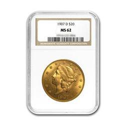 1907-D $20 Liberty NGC MS62