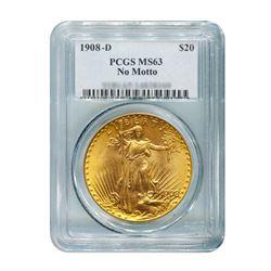 1908-D $20 Saint Gaudens NM PCGS MS63