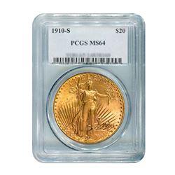 1910-S $20 Saint Gaudens PCGS MS64