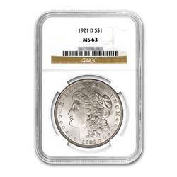1921-D $1 Morgan Silver Dollar - NGC MS63